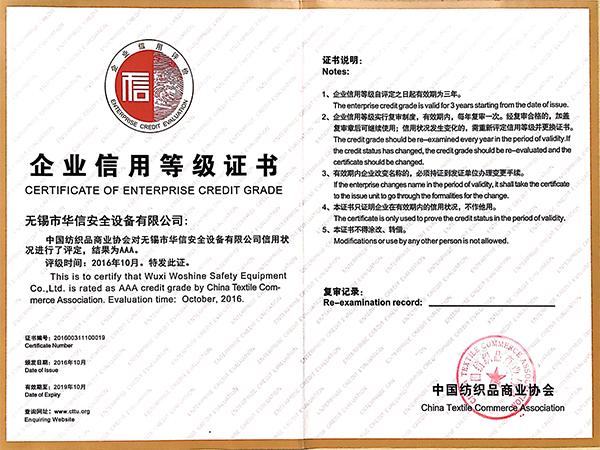 华信安全-企业信用等级证书